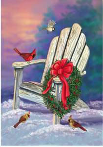 ADIRONDACK CHAIR CHRISTMAS WREATH LARGE FLAG 9690