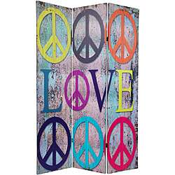 ft. Tall Double Sided Multi Color Peace & Love Room Divider (China
