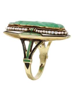 14k Yellow Gold and Carved Jade Antique Ring