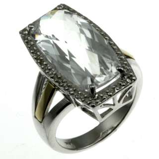 Sterling silver 14K yellow gold white aquamarine and diamond ring