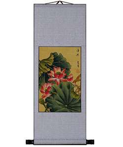 Lotus Flower Chinese Art Wall Scroll Painting  Overstock