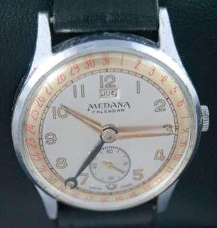 Swiss made vintage watch calendar Art Deco UHREN OROLOGIO RELOJ MONTRE