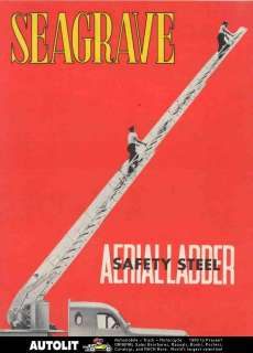 1950 ? Seagrave V12 Aerial Ladder Fire Truck Brochure Poster