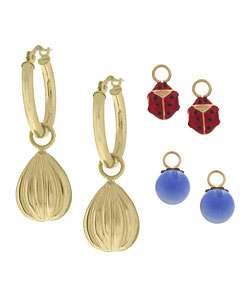 14k Yellow Gold Interchangeable Hoop Earring Set
