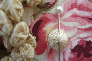 TINY Antique FRENCH Victorian IVORY Silk THREAD Crocheted BUTTON