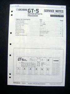 Roland GT 5 Guitar Effects Service Manual Schematic GT5