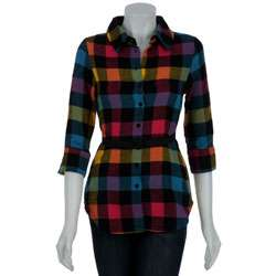 Jack By BB Dakota Womens Skitty Rainbow Plaid Shirt