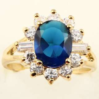10mm BLUE SAPPHIRE *A041* ELEGANT COCKTAIL RING
