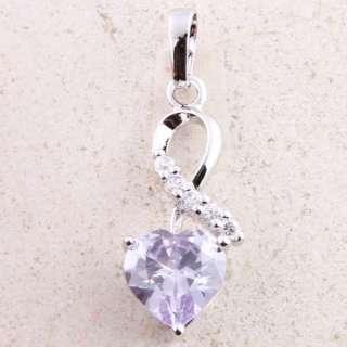 Valentine Heart Lover Pendant Purple Topaz P328 18kgp