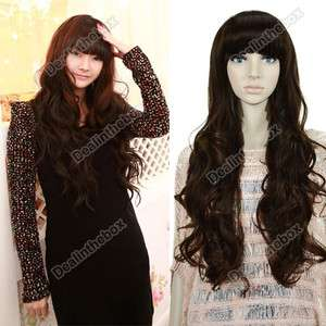 New Womens Long Full Curly Wavy Hair Wig Fashion Vogue Pretty + Free