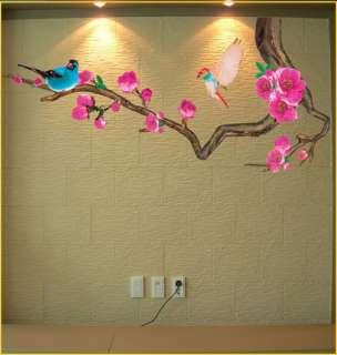 APRICOT FLOWER TREE & BIRD Deco Mural Wallpaper Sticker