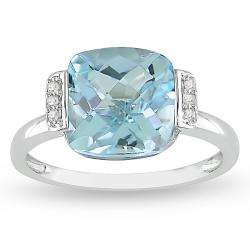 10k White Gold Blue Topaz and Diamond Fashion Ring