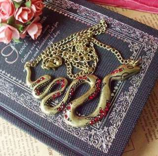 Vintage Brass Red Rhinestone Studded Snake Pendant Chain Necklace