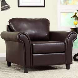 Petrie Dark Brown Faux Leather Club Chair