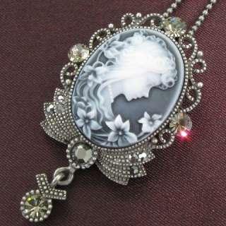 Gray Hematite Rhinestone Designer Cameo Necklace Chain Pendant