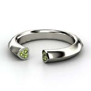 Two Hearts Ring, 14K White Gold Ring with Green Tourmaline