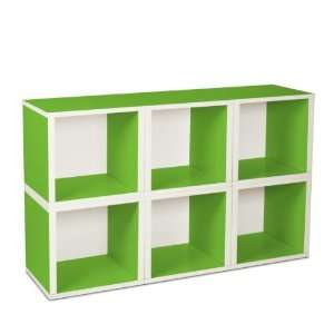 6 Stackable Open Modular Eco Storage Cubes (Green/White