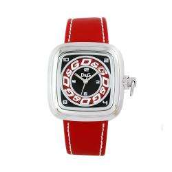 Dolce & Gabbana Mens Cherokee Red Leather White Stitch Watch