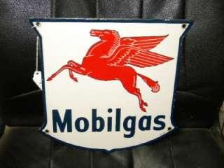 Mobilgas Gas Pump Station Oil Porcelain Sign w/ Pegasus ORIGINAL IR 47