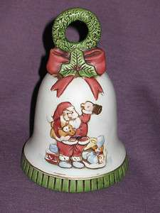 Vintage Christmas Enesco Ceramic Bell Music Box Plays Here Comes Santa