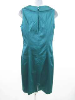 bidding on a KAY UNGER Teal Satin Sleeveless Collared Dress size 10