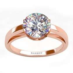 DANHOV 14 KT Rose Gold CZ Round Engagement Ring
