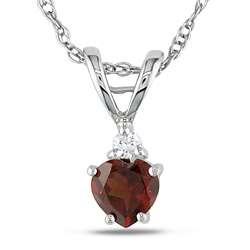 10k White Gold Diamond and Garnet Heart Pendant