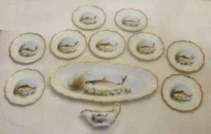 Antique Limoges France Porcelain Fish Set w/Sauce Boat