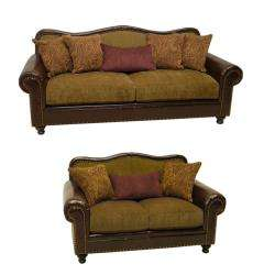 Vincent Espresso/ Bronze Faux Leather/ Fabric Sofa and Loveseat