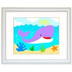 Olive Kids FW OCEA 301 Ocean Whale Framed Print   White