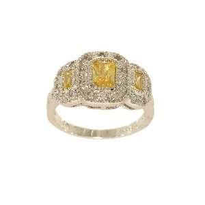 Unbelieveably Fine Silvertone Three Stone Yellow Emerald Cut Fashion