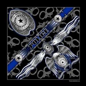 Police Officer Biker Bandana measures 21x21 Law Enforcement Badge NEW