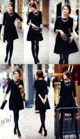 SLIM stretch black dress Audrey Hepburn KOREAN WINTER NWT