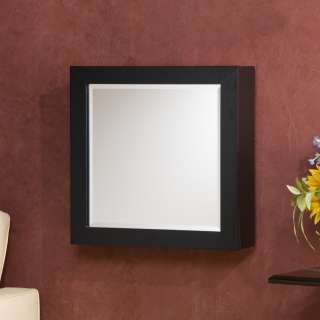 CLOSEOUT Black Square Wall Mount Jewelry Armoire Mirror Storage NEW