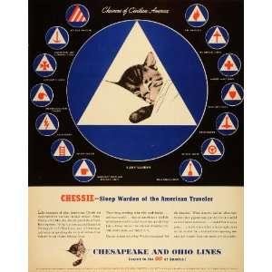 1942 Ad Chesapeake Ohio Railway Chessie Cat WWII War