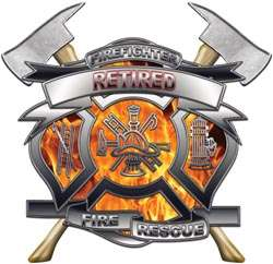 Retired Firefighter Gift Inferno Flames Decal FF110