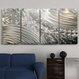 Modern Abstract All Natural Silver Metal Wall Panel Art Sculpture