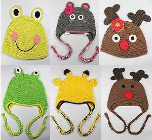 Cute Animal Crochet Knit Earflap Hat Baby Child Girl Boy Gift Giraffe