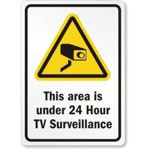 Hour TV Surveillance Laminated Vinyl Sign, 10 x 7 Office Products