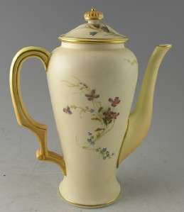 Hand Painted Royal Worcester Coffee Pot or Teapot   Purple Mark