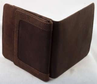 Mens Brown Leather Bifold WALLET W/ Snap COIN PURSE & Closure Compact