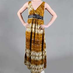 Womens Missy Snakeskin Print Belted Maxi Dress