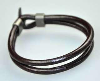 Cool 4mm Leather Cords Surfer Bracelet Wristband Black
