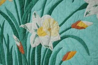 Vintage Green & Yellow Daffodil Applique Hand Stitched Antique Quilt