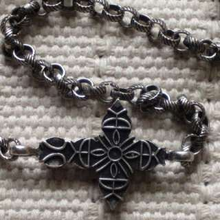 Vintage Silver Tone Semi Precious Cross Chain Necklace Gift