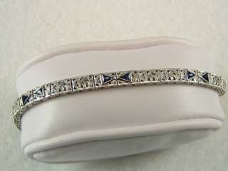 Sapphire EDWARDIAN ART DECO BRACELET 10k White Gold 9.45 grams