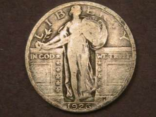 VERY NICE 90% SILVER 1926 STANDING LIBERTY QUARTER DOLLAR   FREE