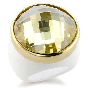 Size 8 Yellow Cubic Zirconia Brass Gold Plated Ring AM