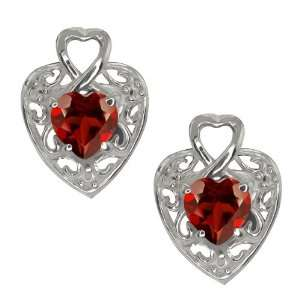 1.80 Ct Heart Shape Red Garnet 10k White Gold Earrings