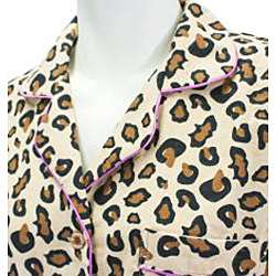 Leisureland Womens Wild Leopard Print Pajamas Set